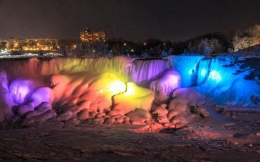 Frozen Niagara Falls at Night 7