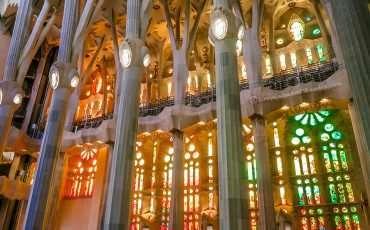 Stain Glass Inside Sagrada Familia Barcelona Spain 2