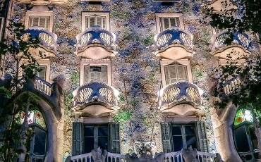 Casa Batllo at Night Gaudi Barcelona 1