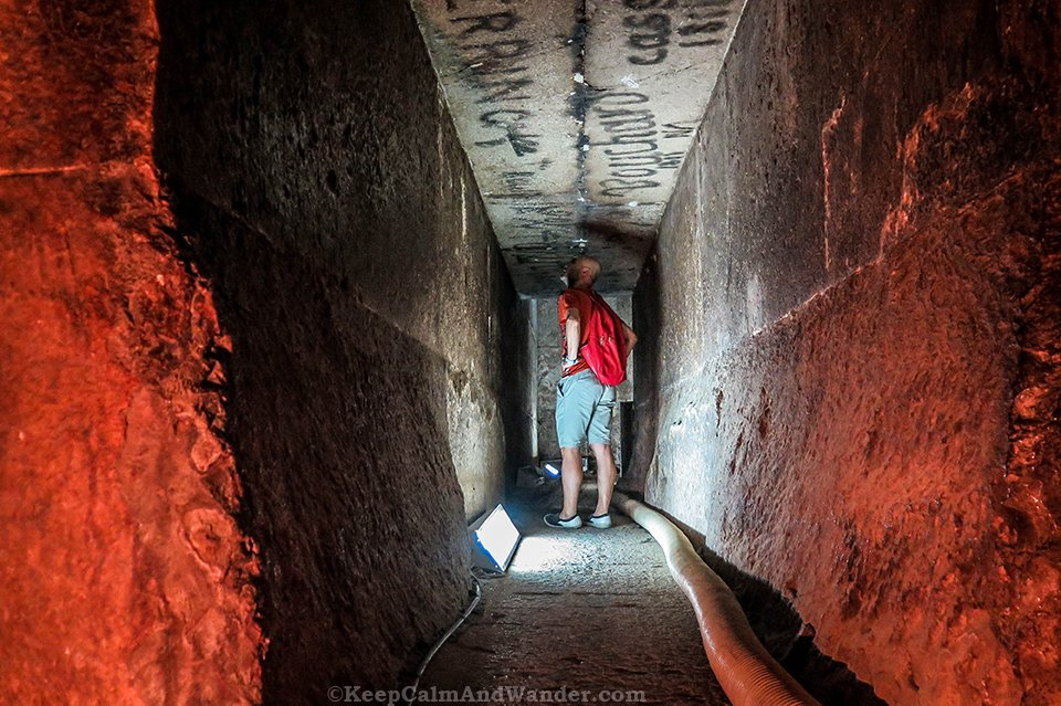 Inside the Red Pyramid in Dahshur, Egypt.