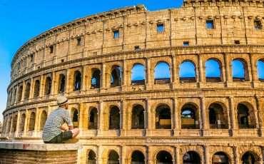 Roman Colosseum Ampitheater Rome Italy Sunset Photo 1