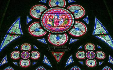 Stained Glass Windows.Notre Dame Cathedral Paris France 11
