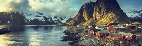 Fishing hut at spring sunset – Reine, Lofoten islands, Norway