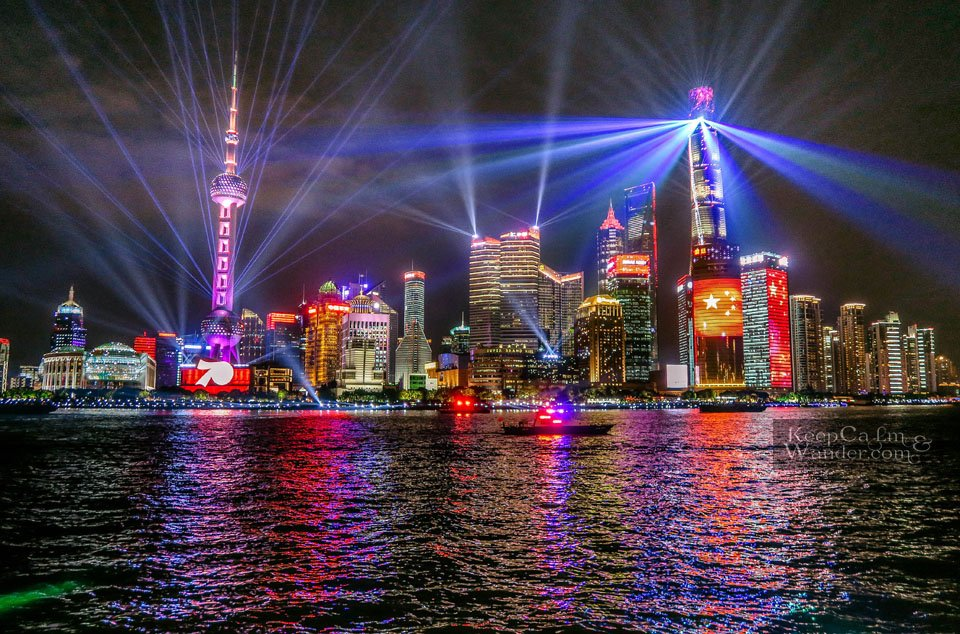 Lights and sounds show Shanghai the bund skyline