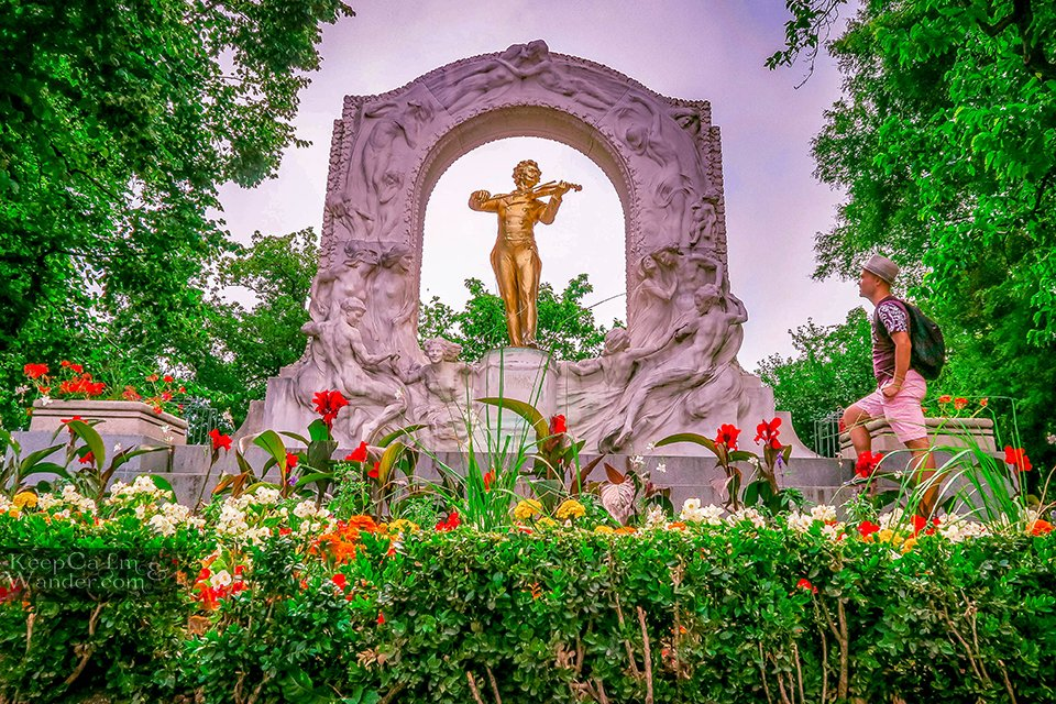 Mozart Golden Statue at Stadtpark
