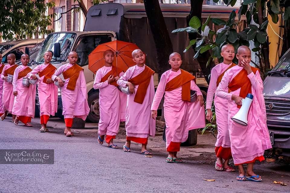 Kid monks Yangon Myanmar