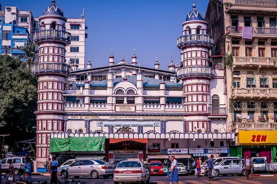 Mosque sule pagoda Myanmar Yangon