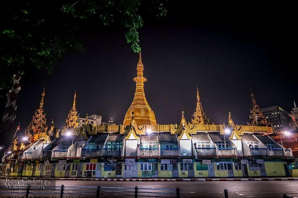 Sule Pagoda at Night Yangon Myanmar