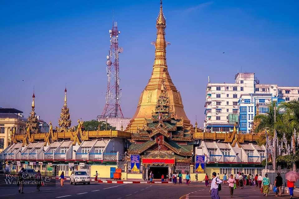 Sule Pagoda - Serenity Amidst the Traffic in Yangon Myanmar
