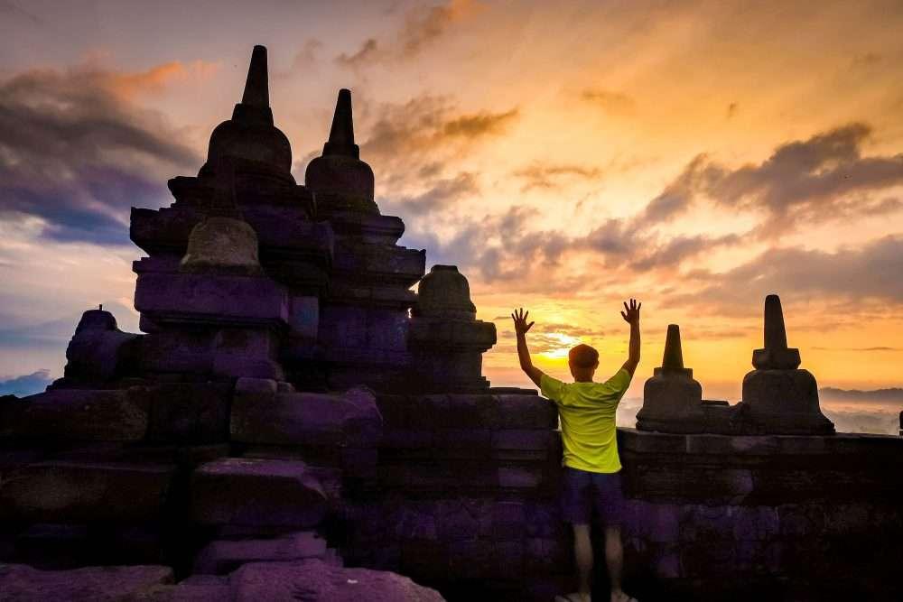 Borobudur sunset Yogyakarta Indonesia