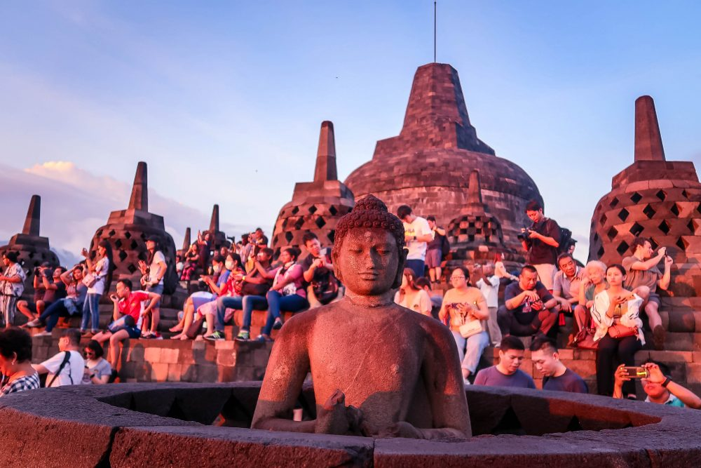 crowd at Borobudur Temple Yogyakarta Indonesia