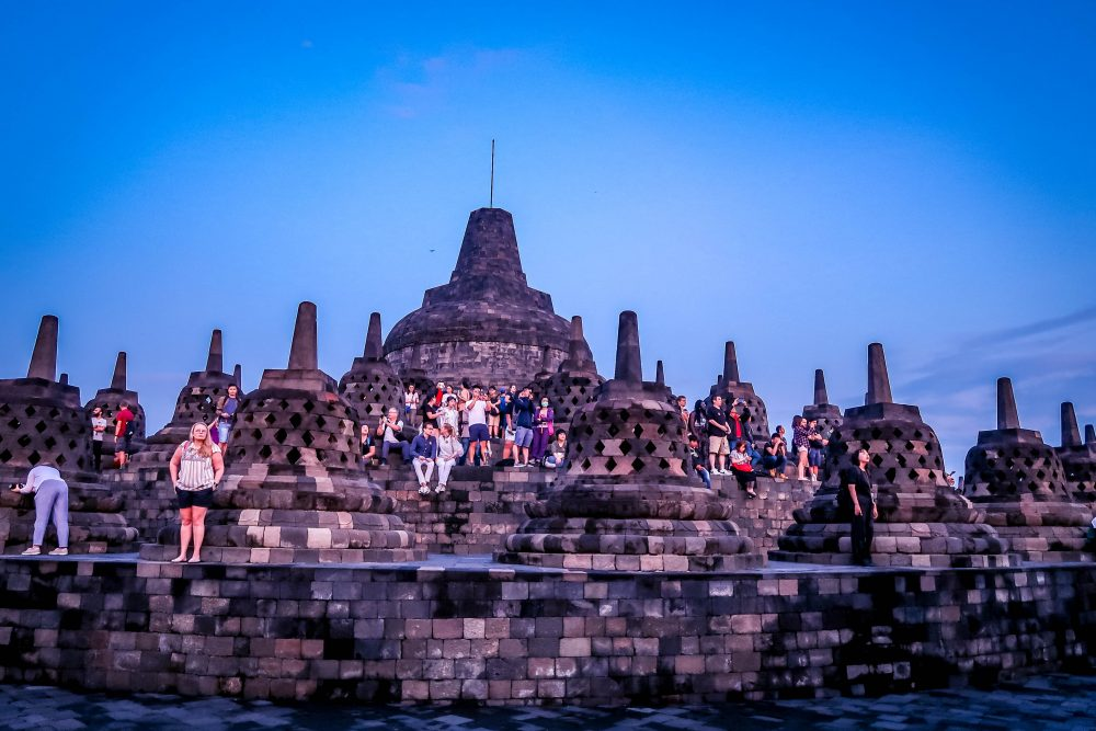 Borobudur Sunrise - in a State of Peace Surrounded by Hundreds of Buddha Statue