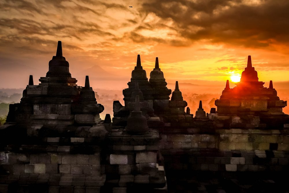 Borobudur Temple is a top tourist attraction in Yogyakarta (Indonesia).