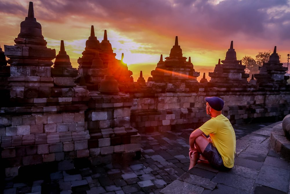 Watching sunrise at Borobudur Yogyakarta Indonesia