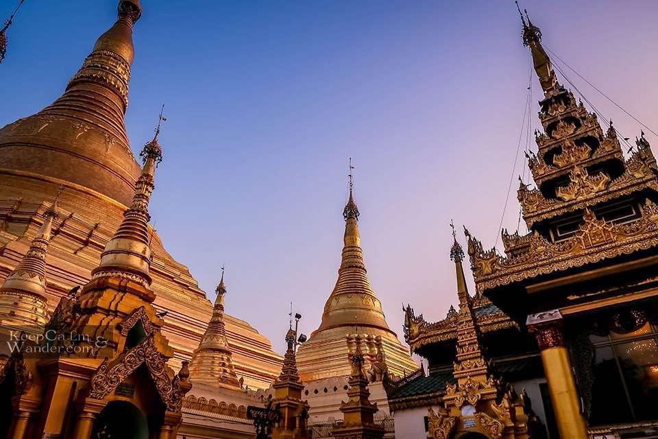 Buddhist temple pagoda in Yangon Myanmar