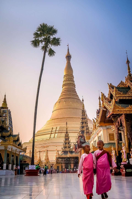 Monks Shwedagon temple shines through night and day (Yangon, Myanmar).