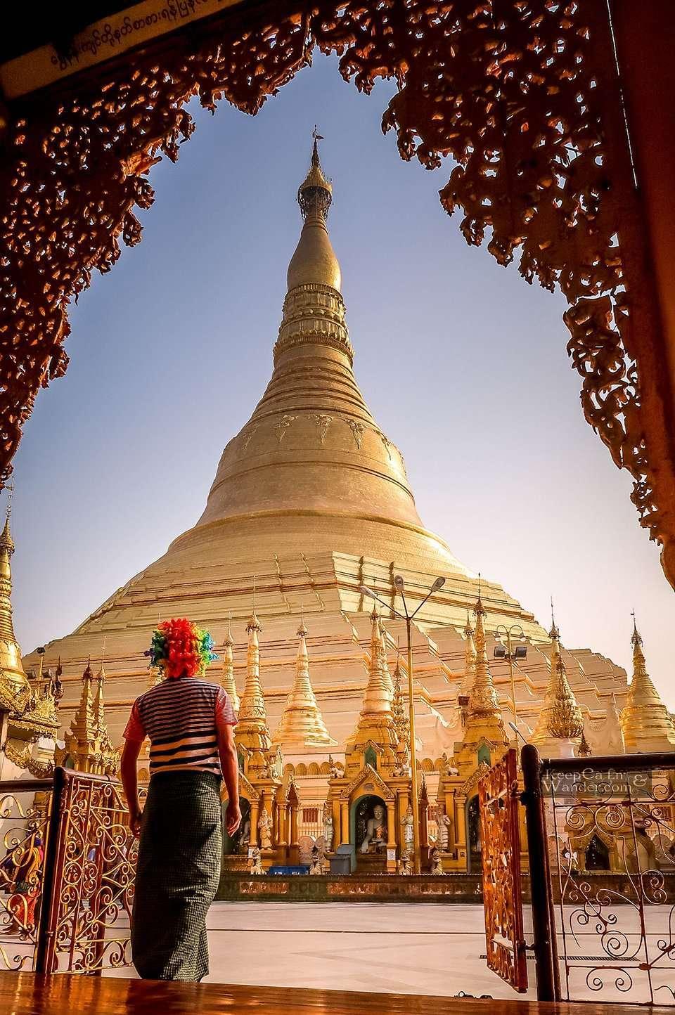 The Golden Pagoda in Yangon, Myanmar