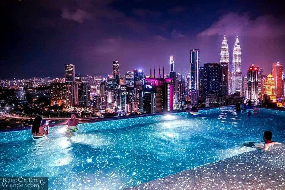 infinity pool at night Kuala Lumpur