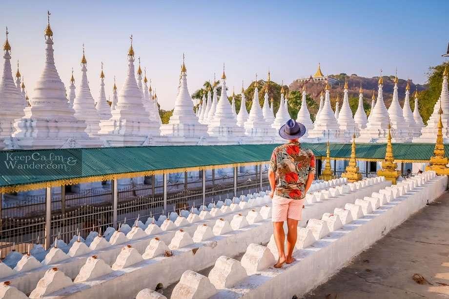 Sandamuni Pagoda and a Jungle of White Stupas (Mandalay, Myanmar).