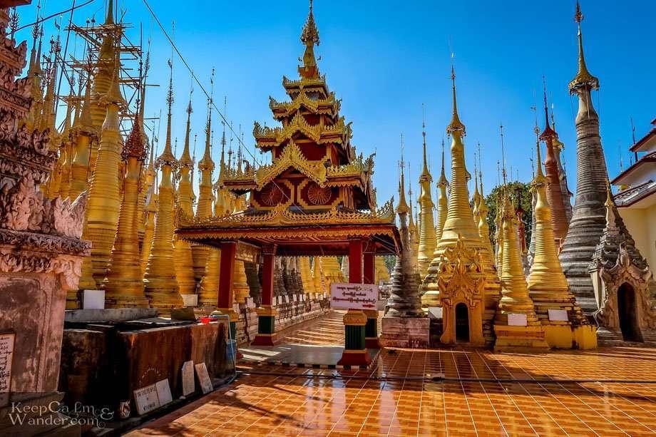 Shwe Indein Pagodas Stupas Ruins Lake Inle Myanmar