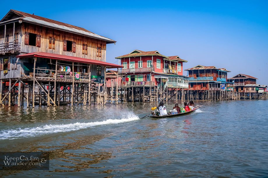 Floating houses in Myanmar