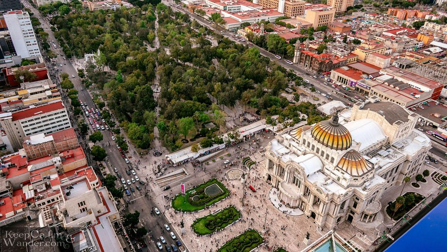 Palacio de Bellas Artes from above.