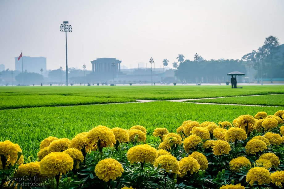 The Ho Chi Minh Mausoleum in Hanoi Vietnam