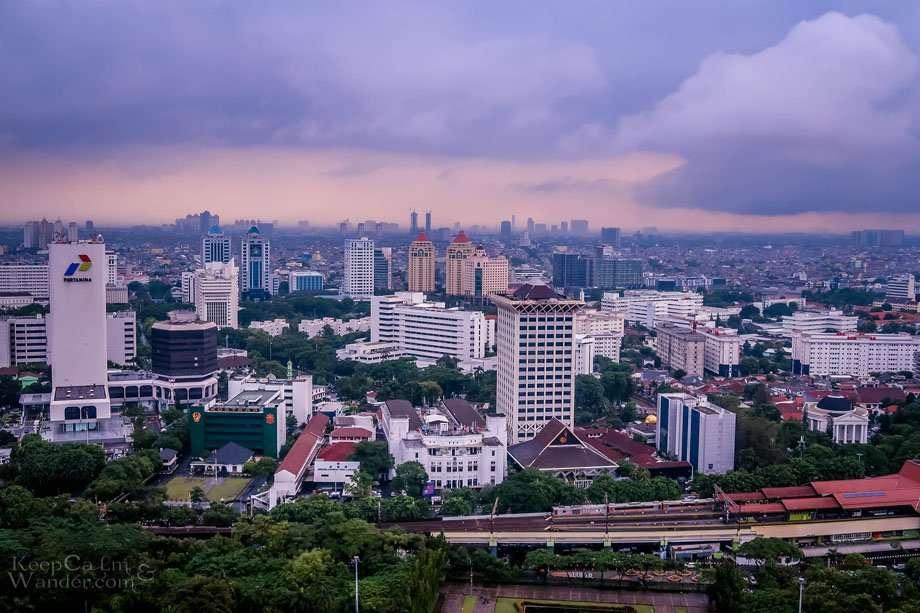 Jakarta city skyline views from Monas tower.