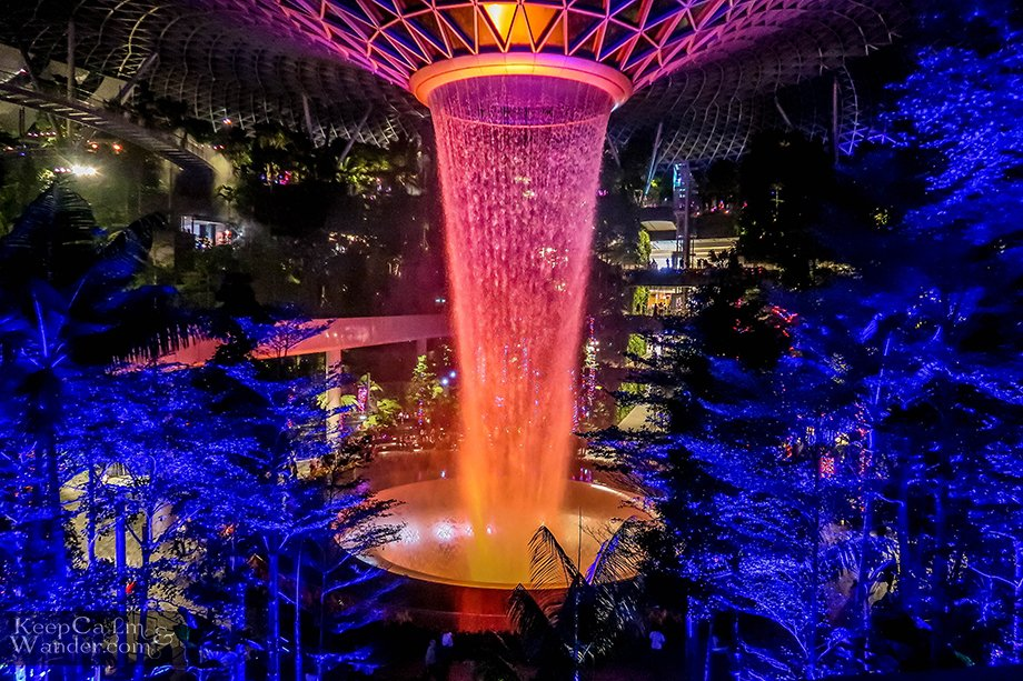 The world's tallest indoor waterfall is inside the airport!