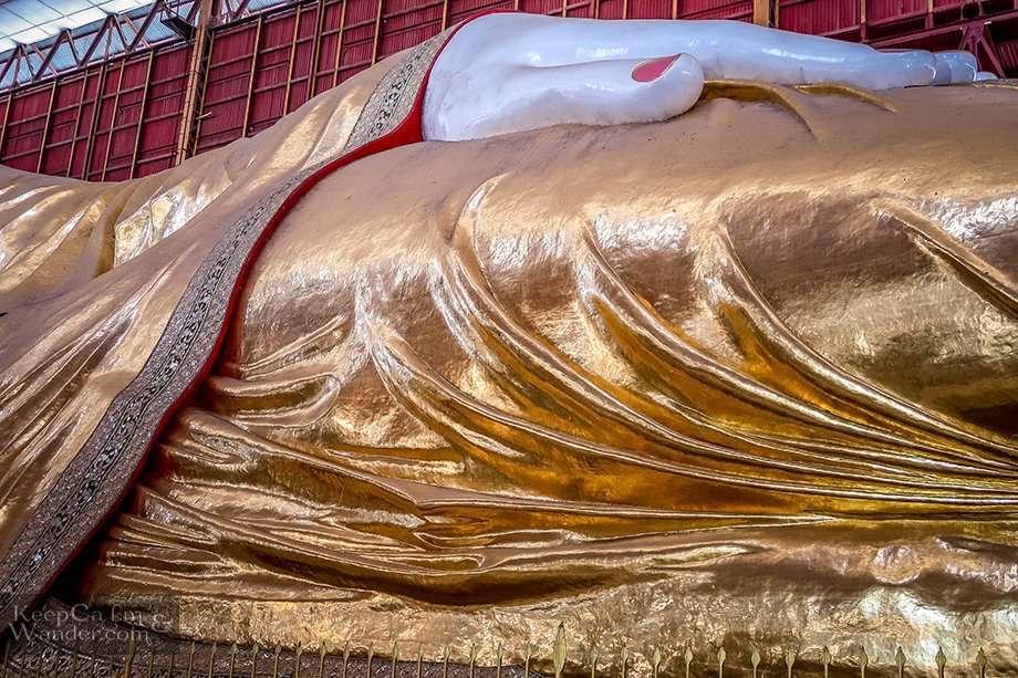 Chauk Htat Gyi Pagoda is Home to a 66-Meter Long  Reclining Buddha (Yangon, Myanmar).