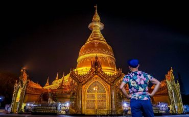 Maha Wizaya Pagoda at Night Yangon Myanmar 1