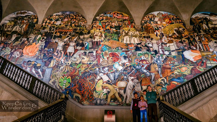 Mural and Paintings of Deigo Rivera at the Staircase Mexico City National Palace