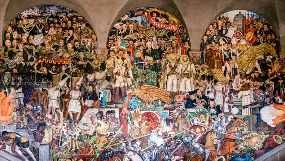 Mural and Paintings of Deigo Rivera at the Staircase  Mexico City