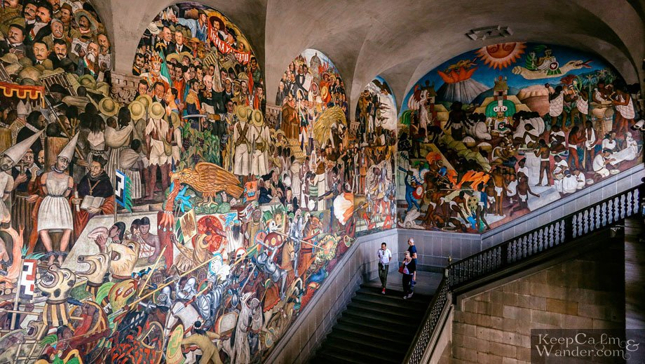 Mural and Paintings of Deigo Rivera at the Staircase (National Palace, Mexico City).